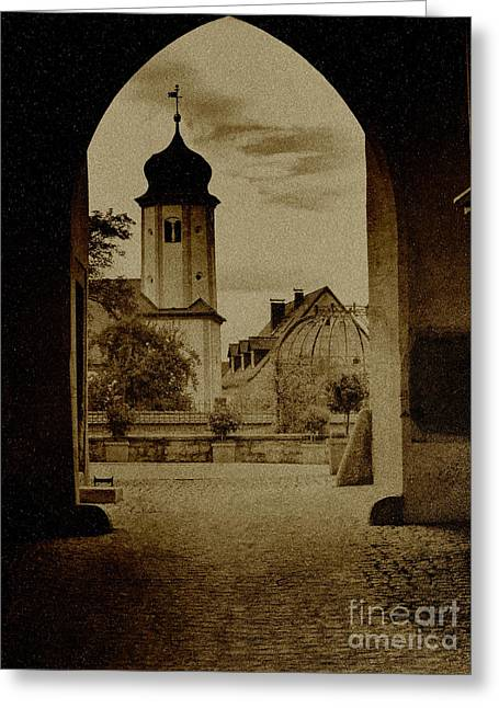 Entrance Door Greeting Cards - Castle Gate Greeting Card by Heiko Koehrer-Wagner