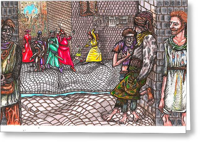 Human Survival Mixed Media Greeting Cards - Castle Hill Street  Gang  Greeting Card by Al Goldfarb