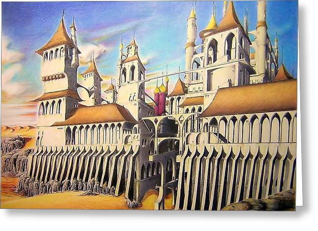 Sand Castles Drawings Greeting Cards - Castle In The Sand Greeting Card by Eric Pouillet