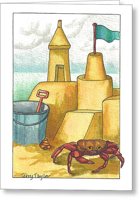 Castle In The Sand Greeting Card by Terry Taylor