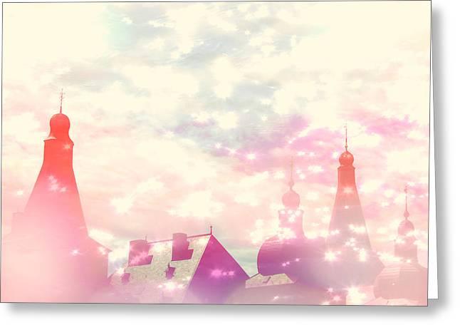 Castle Room Greeting Cards - Castle in the Sky Greeting Card by Danny Van den Groenendael