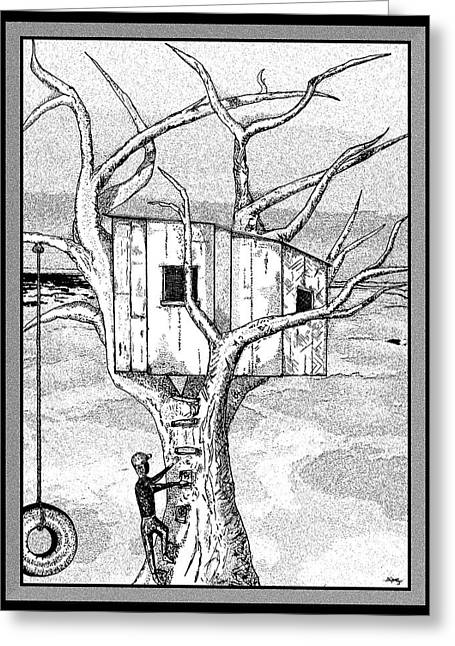 Stipple Greeting Cards - Castle In The Tree - A Childhood Dream Greeting Card by Glenn McCarthy Art and Photography