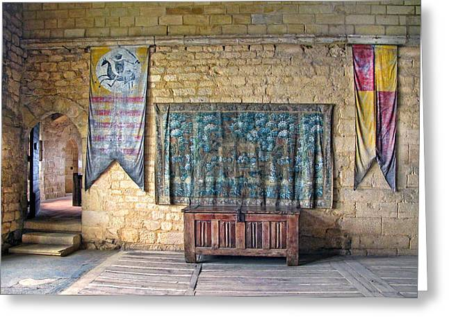 Medieval Tapestries Greeting Cards - Castle Interior Greeting Card by Dave Mills