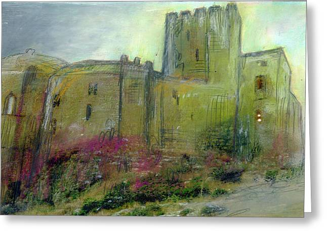 Medieval Pastels Greeting Cards - Castle Loarre Huesca Spain Greeting Card by Lydia L Kramer