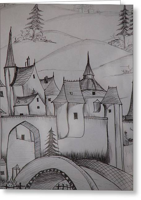 Sand Castles Drawings Greeting Cards - Castle On Hilltop Greeting Card by Ghosh Bose