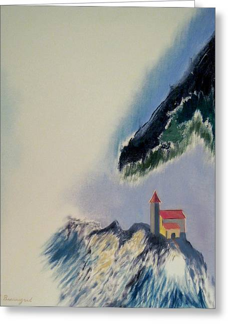 Castle On Mountain Greeting Cards - Castle On The Edge Greeting Card by Richard Beauregard