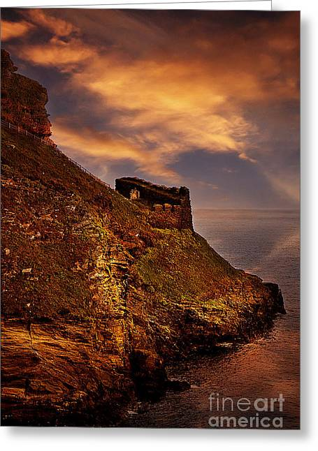 Tintagel Greeting Cards - Castle Rampart Greeting Card by Nigel Hatton