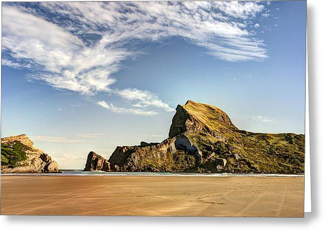 Sun Tanning Greeting Cards - Castle Rock Beach Greeting Card by Andreas Hartmann
