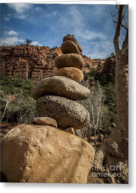 Cathedral Rock Greeting Cards - Castle Rock Cairn Greeting Card by Darcy Michaelchuk