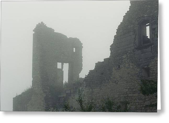 Ruins And Remains Greeting Cards - Castle Ruin In The Mist Greeting Card by Nicole Duplaix