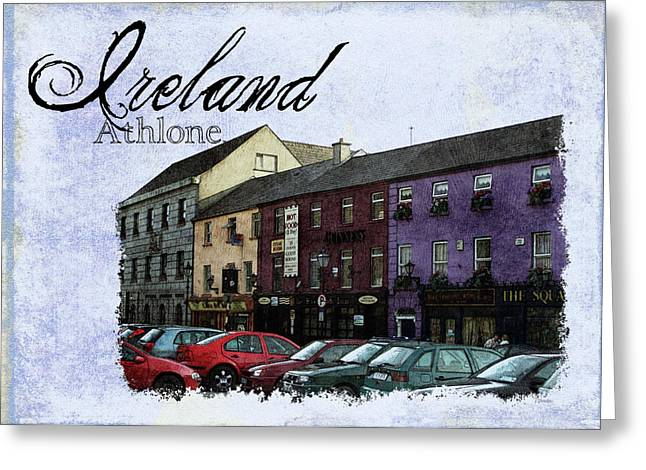 Old Town Digital Art Greeting Cards - Castle Square Athlone Ireland Greeting Card by Teresa Mucha