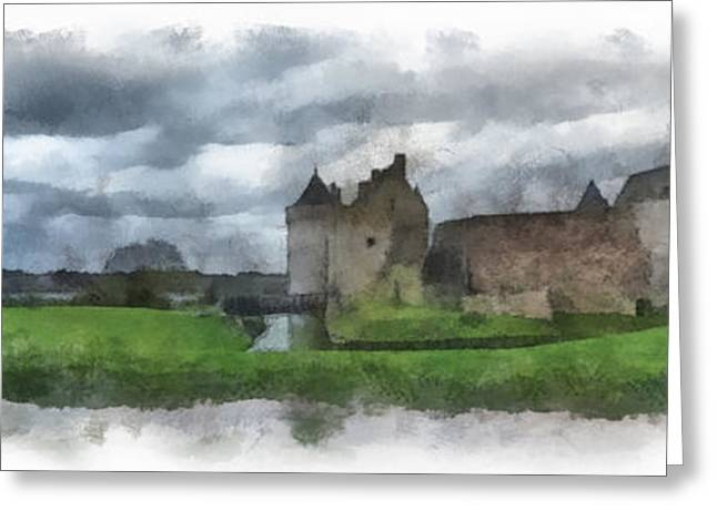 Dungeons Greeting Cards - Castle Suscinio 1 aquarell Greeting Card by Wessel Woortman