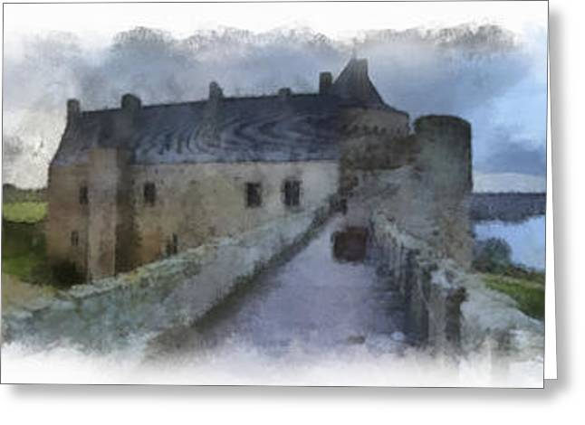 Dungeons Greeting Cards - Castle Suscinio 2 aquarell Greeting Card by Wessel Woortman