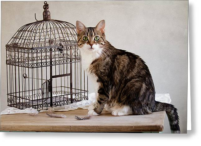 Bird Cage Greeting Cards - Cat and Bird Greeting Card by Nailia Schwarz