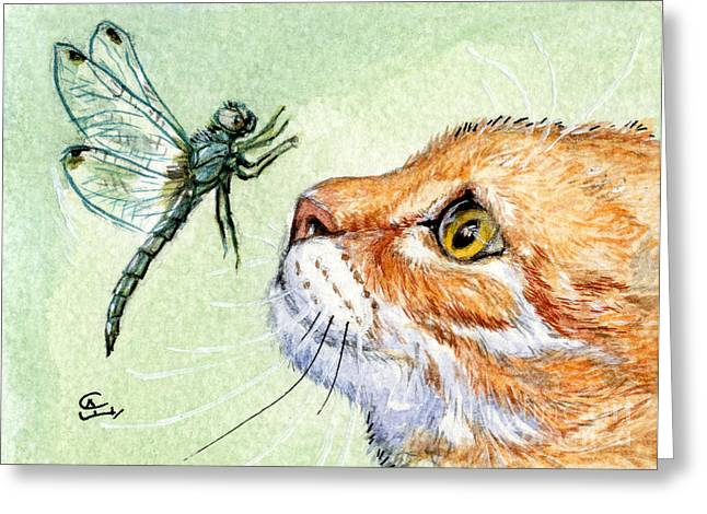 Surprise Greeting Cards - Cat and Dragonfly  Greeting Card by Svetlana Ledneva-Schukina