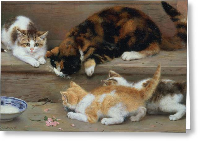 Mom Paintings Greeting Cards - Cat and kittens chasing a mouse   Greeting Card by Rosa Jameson