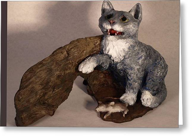 Sorrow Sculptures Greeting Cards - Cat and Mice main view Greeting Card by Katherine Howard