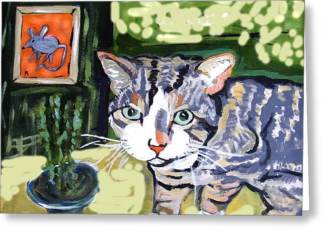 Best Sellers -  - Print Ceramics Greeting Cards - Cat And Mouse Friends Greeting Card by Patricia Lazar