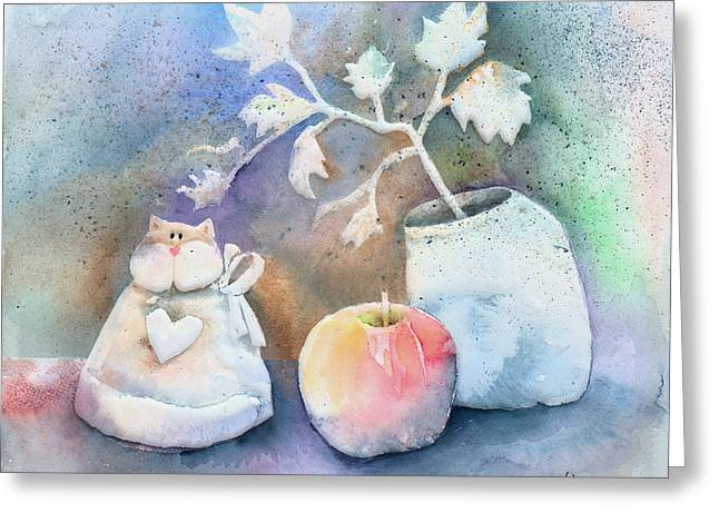 Apple Paintings Greeting Cards - Cat-Apple-Vase Still Life Greeting Card by Arline Wagner