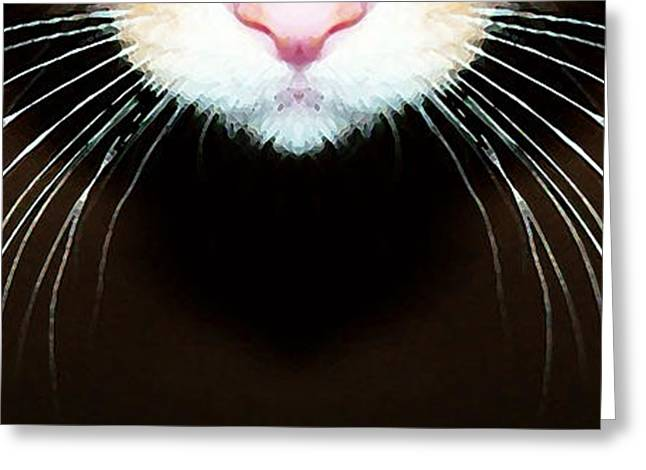 Whimsical. Greeting Cards - Cat Art - Super Whiskers Greeting Card by Sharon Cummings