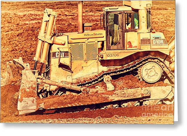 Dozer Greeting Cards - CAT Bulldozer . 7D10945 Greeting Card by Wingsdomain Art and Photography