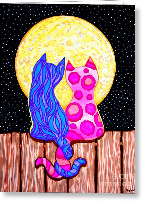Whimsical. Greeting Cards - Cat Couple Full Moon Greeting Card by Nick Gustafson