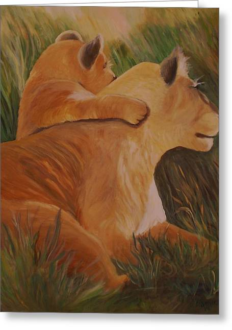 Cat Family Greeting Card by Christy Saunders Church