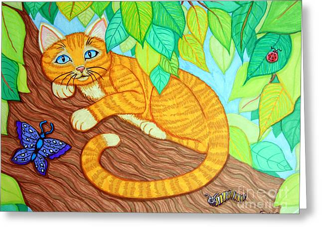 Cat Drawings Greeting Cards - Cat in a Tree Greeting Card by Nick Gustafson