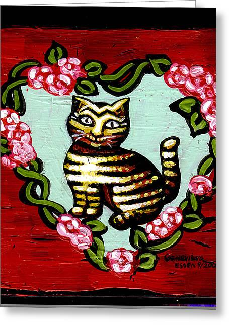 Yellow Flowers Stretched Prints Greeting Cards - Cat In Heart Wreath 2 Greeting Card by Genevieve Esson