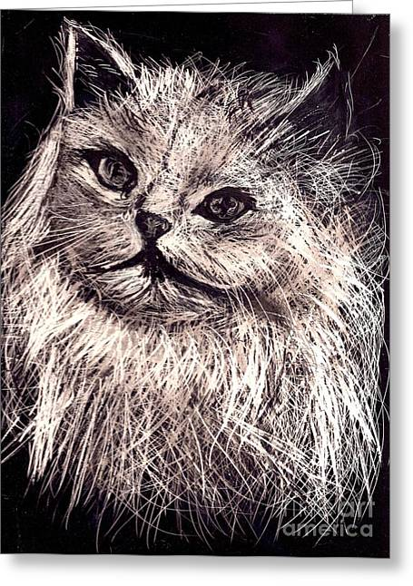 Art Prints Reliefs Greeting Cards - Cat life Greeting Card by Leonor Shuber
