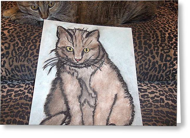 Zola Greeting Cards - Cat Loves Cat Sketches Greeting Card by Hilary Frihd