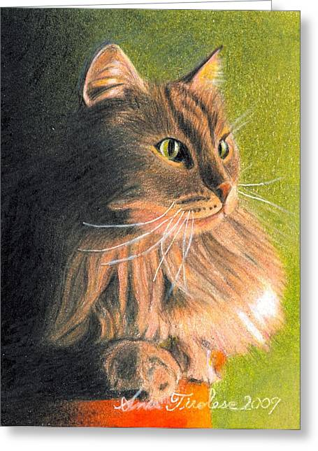 Cat Miniature Greeting Card by Ana Tirolese
