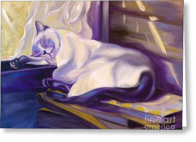Cat Drawings Greeting Cards - Cat Nap in the Office Greeting Card by Susan A Becker
