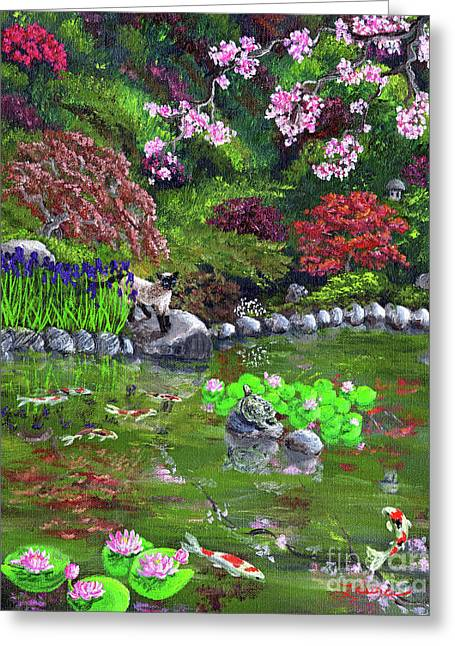 Cherry Blossoms Paintings Greeting Cards - Cat Turtle and Water Lilies Greeting Card by Laura Iverson