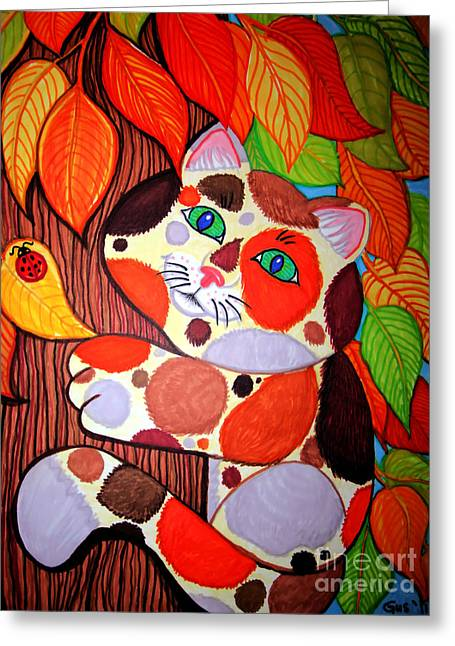 Cat Drawings Greeting Cards - Cat Up A Tree Greeting Card by Nick Gustafson