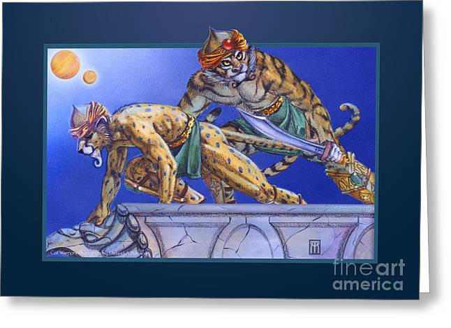 Gathering Mixed Media Greeting Cards - Cat Warriors Greeting Card by Melissa A Benson