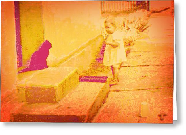 Cat Watching Greeting Card by Li   van Saathoff