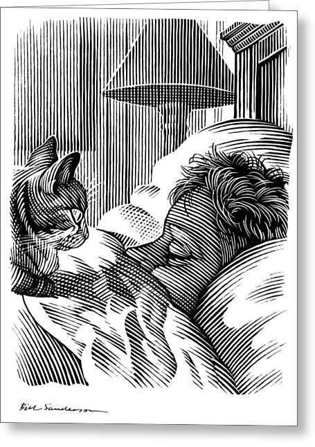 Linocut Greeting Cards - Cat Watching Sleeping Man, Artwork Greeting Card by Bill Sanderson