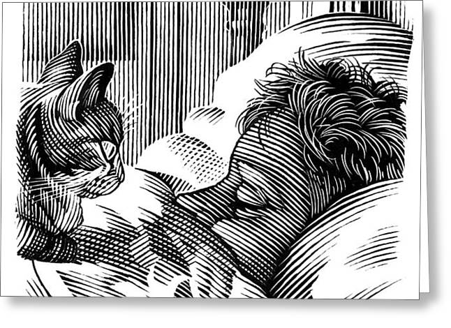 Cat Watching Sleeping Man, Artwork Greeting Card by Bill Sanderson