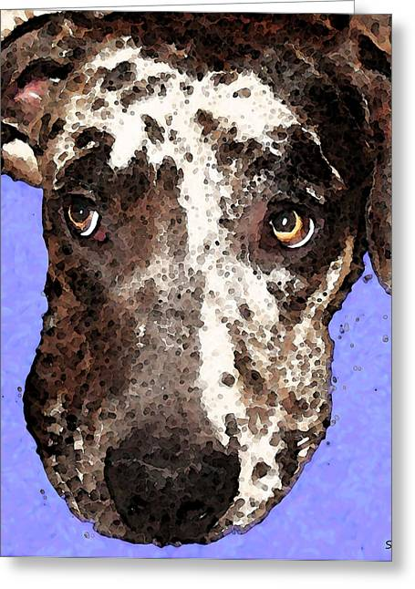 Whimsical Dog Art Greeting Cards - Catahoula Leopard Dog - Soulful Eyes Greeting Card by Sharon Cummings