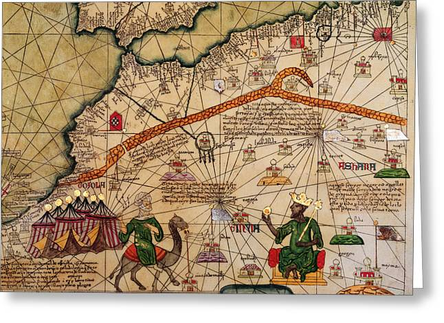 Navigational Greeting Cards - Catalan Map of Europe and North Africa Charles V of France in 1381  Greeting Card by Abraham Cresques