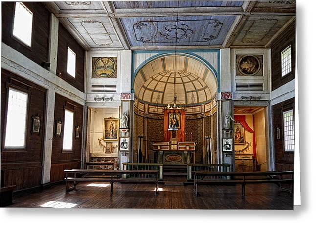 Daubs Greeting Cards - CATALDO MISSION ALTAR and INTERIOR Greeting Card by Daniel Hagerman