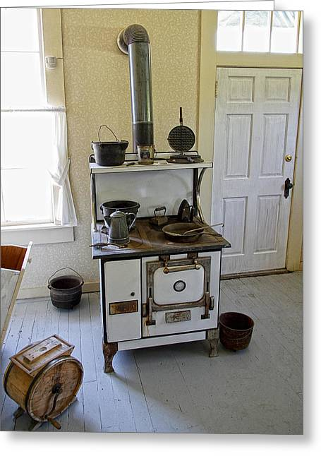 Wood Stove Greeting Cards - Cataldo Mission Parish Stove Greeting Card by Daniel Hagerman