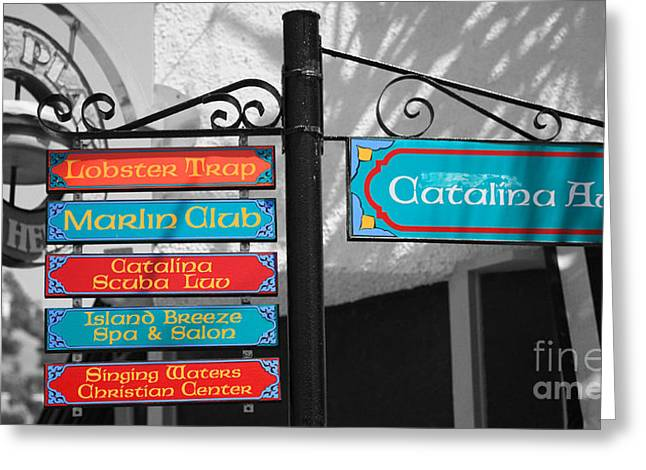 Lobster Post Greeting Cards - Catalina Ave Greeting Card by Cheryl Young