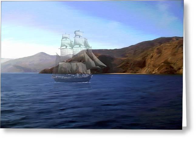 Sailing Ship Mixed Media Greeting Cards - Catalina Shoreline Ghost ship Greeting Card by Snake Jagger