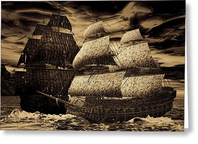 Pirate Ship Greeting Cards - Catastrophic Collision-Sepia Greeting Card by Lourry Legarde