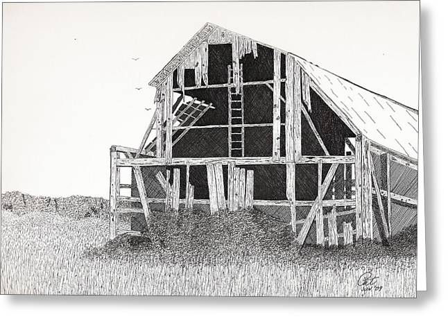 Dilapidated Drawings Greeting Cards - Catawba Barn Greeting Card by Pat Price