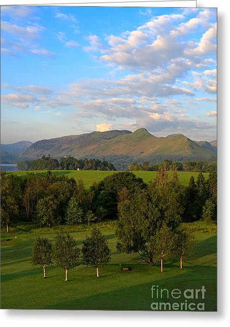 Maiden Greeting Cards - Catbells Derwentwater and Maiden Moor at dawn in Cumbria Greeting Card by Louise Heusinkveld