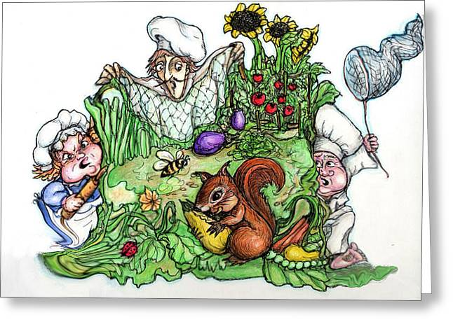 Sunflower Patch Greeting Cards - Catch-a-Squirrel Greeting Card by Rae Chichilnitsky
