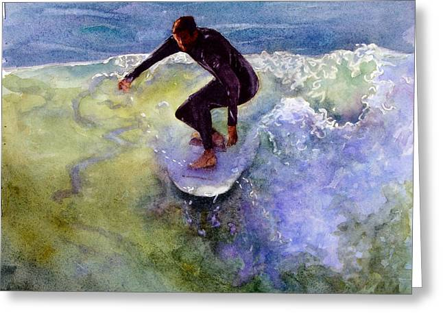 Clemente Paintings Greeting Cards - Catch a Wave Greeting Card by Bonnie Rinier